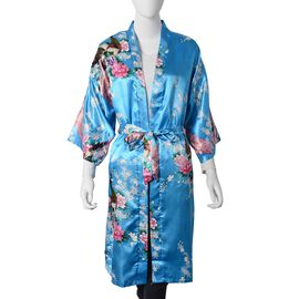 Turquoise Blue, Purple, Dark Green and Multi Colour Flower and Peacock Pattern Kimono with Belt (Size 102x62 Cm)