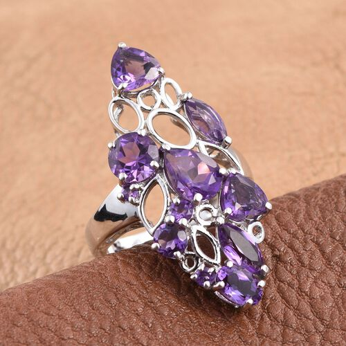 GP Amethyst (Pear 1.00 Ct), Kanchanaburi Blue Sapphire Ring in Platinum Overlay Sterling Silver 4.750 Ct.