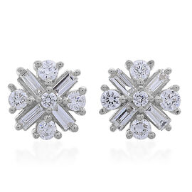 Limited Edition - ILIANA 18K White Gold IGI Certified Diamond (Bgt and Rnd) (SI/G-H) Stud Earrings (with Screw Back) 0.500 Ct.