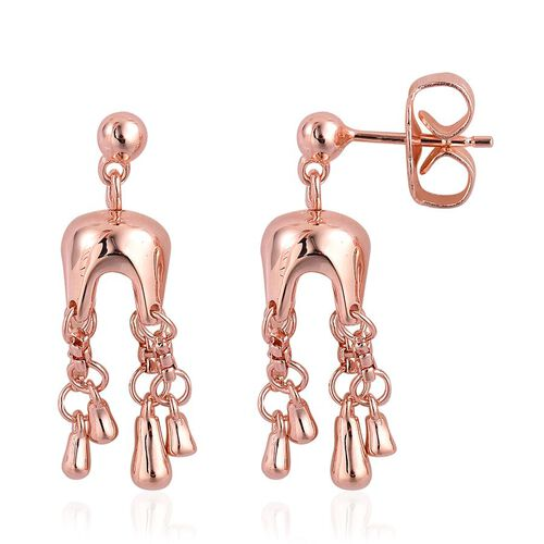 LucyQ Umbrella Earrings (with Push Back) in Rose Gold Overlay Sterling Silver 6.00 Gms.