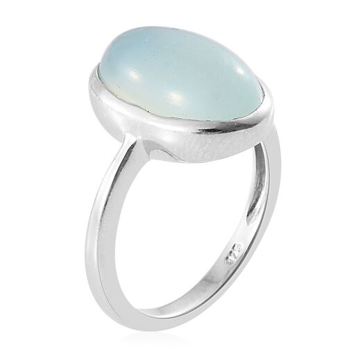 Aqua Chalcedony 7 Carat Silver Solitaire Ring in Platinum Overlay