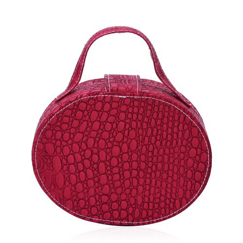 Close Out Deal- Red Colour Croc Embossed Oval Shape Jewellery Box with Mirror Inside (Size 17.5X14X7 Cm)