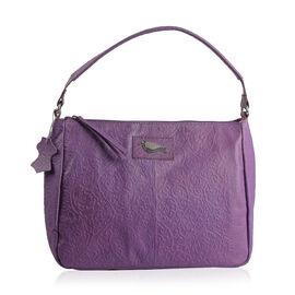 Genuine Leather RFID Blocker Purple Colour Handbag with External Zipper Pocket and Adjustable Shoulder Strap (Size 36X28X16 Cm)