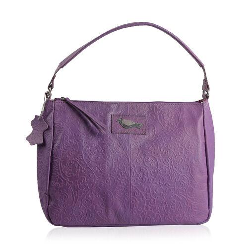 100% Genuine Leather RFID Blocker Purple Colour Handbag with External Zipper Pocket  (Size 36X28X16 Cm)