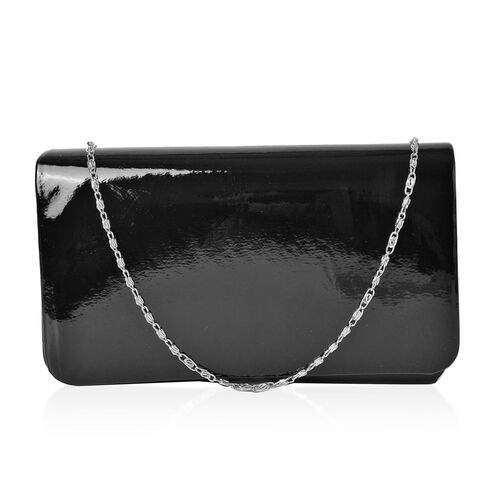 Black Colour Clutch Bag with Chain Strap (Size 21X12X5 Cm)