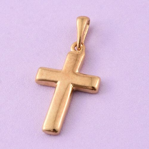 14K Gold Overlay Sterling Silver Cross Pendant, Silver wt. 1.63 Gms.