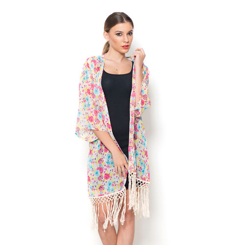 Multi Colour Floral Pattern Pink Colour Kimono with Tassels (size 80x50 Cm)