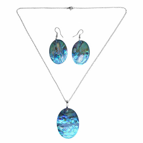 Abalone Shell Oval Pendant with Chain and Hook Earrings in Silver Plated