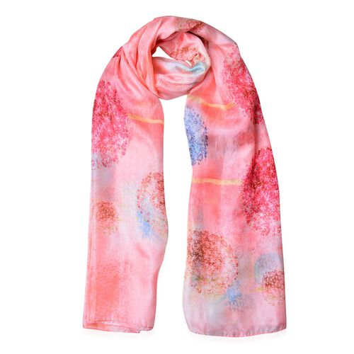 100% Mulberry Silk Pink, Blue and Multi Colour Dandelion Pattern Scarf (Size 180X110 Cm)