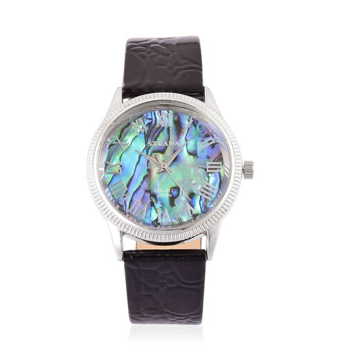 STRADA Japanese Movement Abalone Shell Dial Watch in Silver Tone with Stainless Steel Back and Black Colour Cobble Embossed Strap