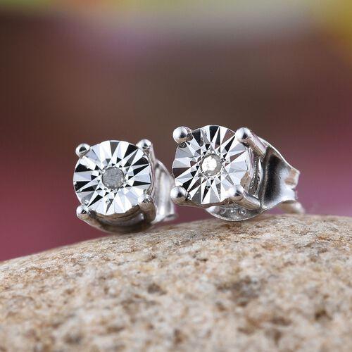 Diamond (Rnd) Stud Earrings in Platinum Overlay Sterling Silver