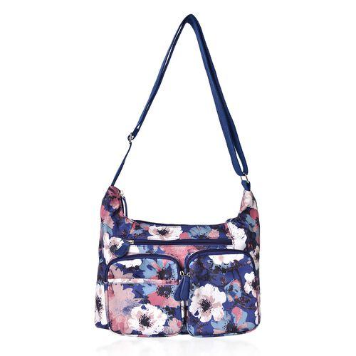 Navy, Pink and Multi Colour Floral Pattern Multi Pocket Waterproof Sport Bag with Adjustable Shoulder Strap (Size 33X22X11 Cm)