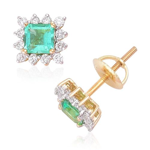 ILIANA 18K Yellow Gold 1 Carat AAAA Boyaca Colombian Emerald (Oct), Diamond (SI/G-H) Earrings (with Screw Back)
