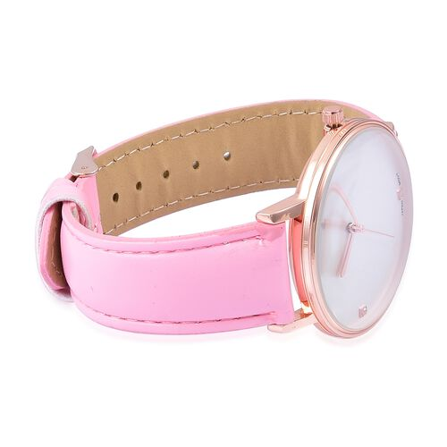 GENOA Diamond Studded Dial Watch with Pink Colour Strap