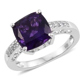 Amethyst (Cush 3.85 Ct), White Topaz Ring in Platinum Overlay Sterling Silver 4.000 Ct.