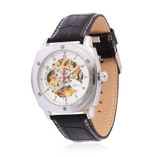 GENOA Automatic Skeleton Silver Tone Watch