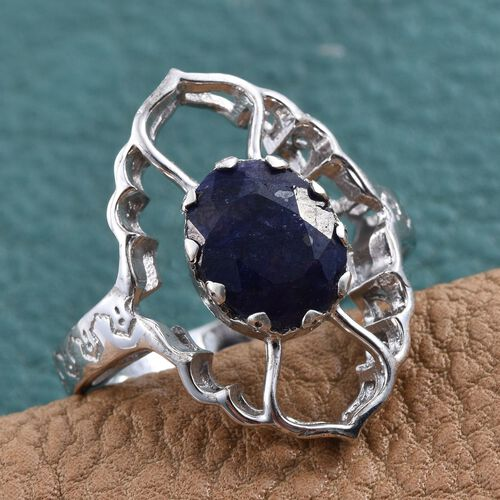 Kimberley Crimson Spice Collection Enhanced Sapphire (Ovl) Ring in Platinum Overlay Sterling Silver 3.000 Ct.
