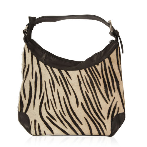 100% Genuine Leather Zebra Pattern Black and Cream Colour Handbag with External Zipper Pocket and Adjustable Shoulder Strap (Size 32x24x11 Cm)