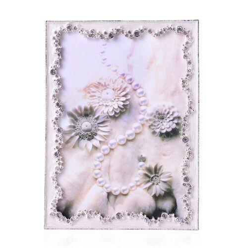Rectangular Shape Photo Frame in Silver Tone Decorated with Glass and Pearls (Size 18x12 Cm)