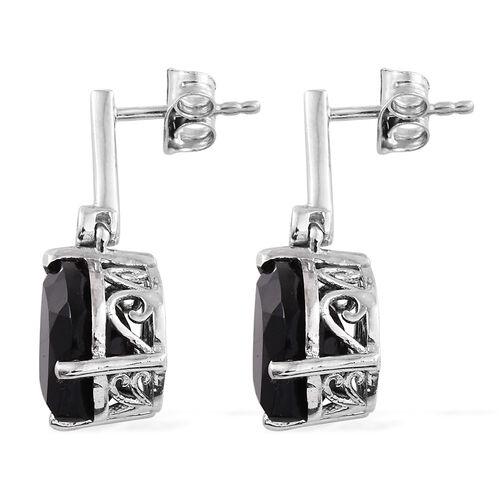 Boi Ploi Black Spinel Pendant and Earrings (with Push Back) in Platinum Overlay Sterling Silver 18.000 Ct.