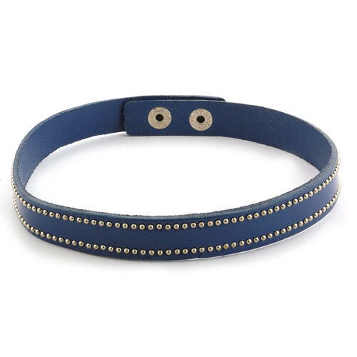 Blue Leather Studded Wrap Bracelet in Silver Tone (Size 16)