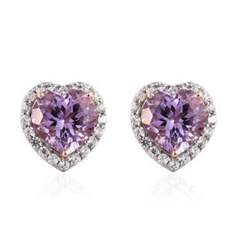 Rose De France Amethyst (Hrt), Natural Cambodian Zircon Stud Earrings (with Push Back) in Rose Gold Overlay Sterling Silver 12.750 Ct.