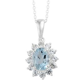Sky Blue Topaz (Ovl 1.45 Ct), Natural Cambodian Zircon Pendant with Chain in Sterling Silver 2.250 Ct.