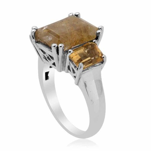 Aurelia Rutilated Quartz (Oct 4.00 Ct), Citrine Ring in Platinum Overlay Sterling Silver 6.000 Ct.