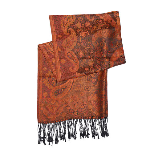 SILK MARK - 100% Superfine Silk Orange, Black and Multi Colour Jacquard Scarf with Fringes (Size 180x70 Cm) (Weight 125 - 140 Grams)