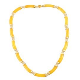 Limited Edition Luxury Collarette- Yellow Jade Chinese Symbol (Good Luck and Fortune) Necklace (Size 18) in Yellow Gold Overlay Sterling Silver 90.000 Ct.