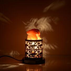 Home Decor - Natural Himalayan Rock Salt Basket Lamp (with 1.6kg Salt) - Abstract Pattern