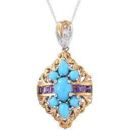 Arizona Sleeping Beauty Turquoise (Ovl), Amethyst Pendant with Chain in Platinum and 14K Gold Overlay Sterling Silver 1.750 Ct.