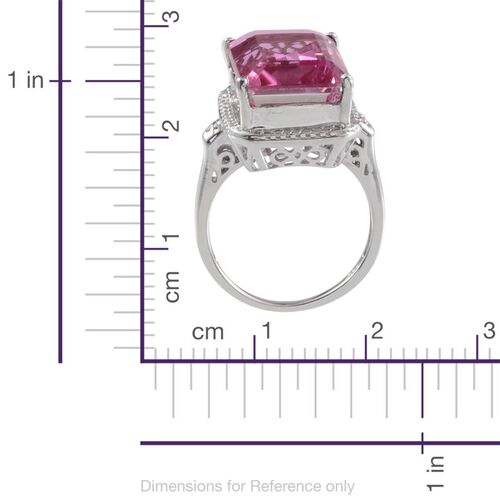 Kunzite Colour Quartz (Oct 13.50 Ct), Diamond Ring in Platinum Overlay Sterling Silver 13.520 Ct.