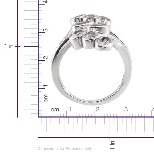 Espirito Santo Aquamarine (Ovl) Crossover Ring in Platinum Overlay Sterling Silver 1.500 Ct.