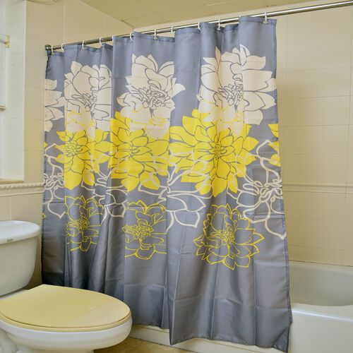 Yellow and White Colour Floral Pattern Grey Colour WaterProof Shower Curtain with 12 Hooks (Size 180x180 Cm)