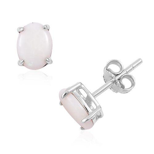 9K White Gold 1.50 Ct AA Australian White Opal Stud Earrings (with Push Back)