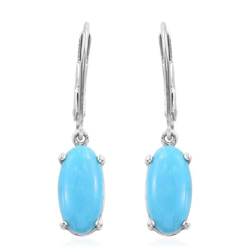 Arizona Sleeping Beauty Turquoise (Ovl) Lever Back Earrings in Platinum Overlay Sterling Silver 3.500 Ct.