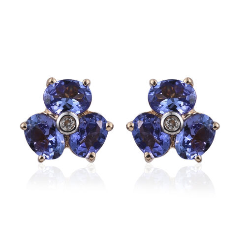 9K Y Gold Tanzanite (Ovl), Natural Cambodian Zircon Stud Earrings (with Push Back) 1.100 Ct.