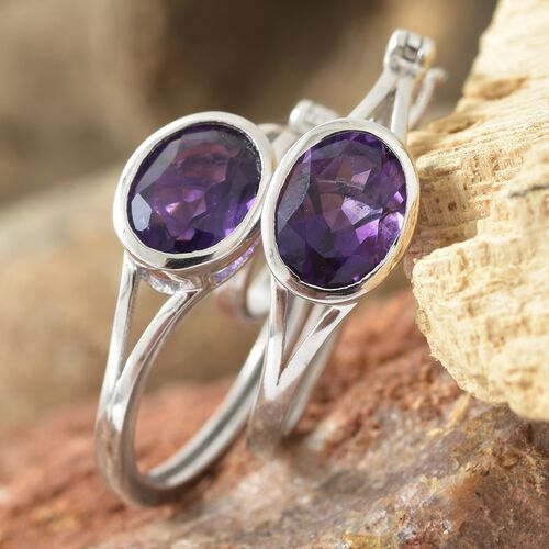 Amethyst (Ovl) Hoop Earrings (with Clasp) in Platinum Overlay Sterling Silver 3.250 Ct. Silver wt 5.30 Gms.