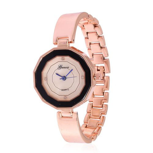 GENOA Japanese Movement MOP Dial with White Austrian Crystal Water Resistant Watch in Rose Gold Tone with Stainless Steel Back and Chain Strap