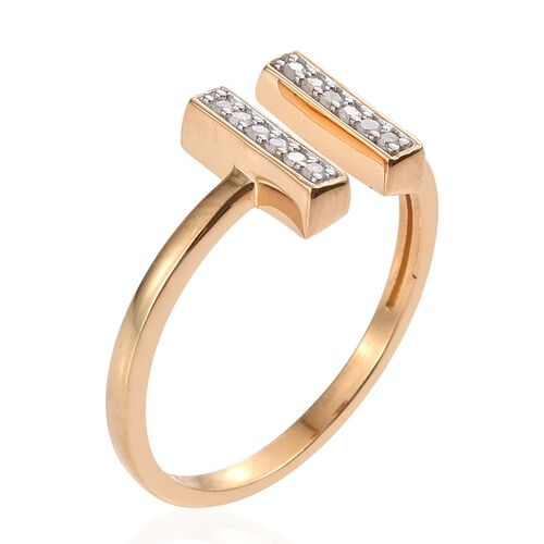 Diamond (Rnd) Open Ring in 14K Yellow Gold Overlay Sterling Silver 0.100 Ct.