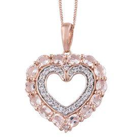 Very Rare Zambezia Marropino Morganite and Natural Cambodian Zircon Heart Pendant with Chain in Rose Gold Overlay Sterling Silver 2.500 Ct.