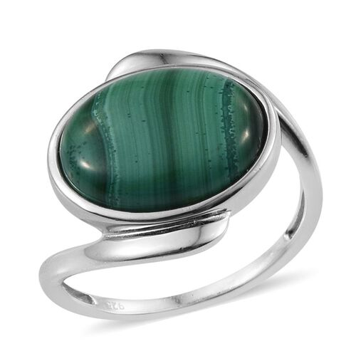 Malachite (Ovl) Ring in Platinum Overlay Sterling Silver 10.500 Ct.