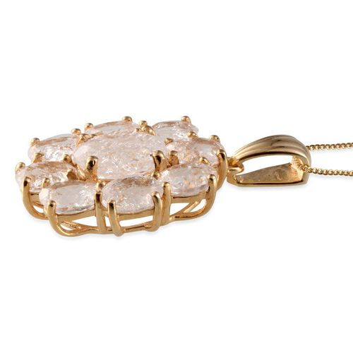 White Crackled Quartz (Ovl 5.25 Ct) Pendant With Chain in 14K Gold Overlay Sterling Silver 17.250 Ct.