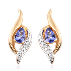 0.85 Ct Tanzanite, Diamond Silver Earrings (with Push Back) in Gold Overlay