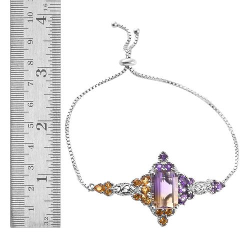 AA Anahi Ametrine (Oct 7.20 Ct), Amethyst and Citrine Adjustable Bracelet (Size 6.5 to 9.5) in Platinum Overlay Sterling Silver 9.750 Ct.