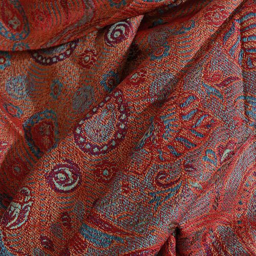 Silk Mark - 100% Super Fine Silk Golden, Blue and Multi Colour Floral and Paisley Pattern Jacquard Jamawar Red Colour Scarf with Fringes (Size 180x70 Cm) (Weight 125 - 140 Gms)