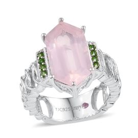 Stefy Rose Quartz, Russian Diopside and Pink Sapphire Ring in Platinum Overlay Sterling Silver 7.250 Ct. Silver wt. 5.20 Gms.