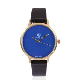 STRADA Japanese Movement Blue Dial Water Resistant Watch in Yellow Gold Tone with Black Colour Strap