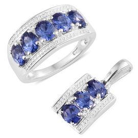 Ankur Treasure CZ Tanzanite (3.25 Ct) Sterling Silver 2 Pcs Ring and Pendant Set  3.250  Ct.